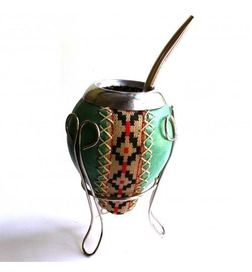 綠皮原生瑪黛茶葫蘆連金屬吸管
