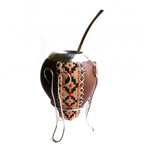 褐色原生瑪黛茶葫蘆連金屬吸管