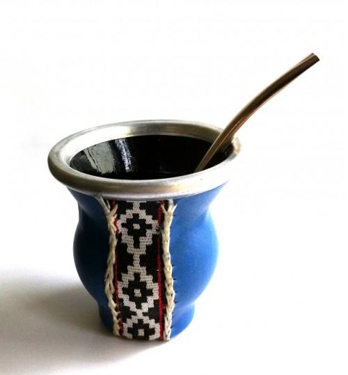 藍皮紋玻璃質瑪黛茶茶壺連金屬吸管