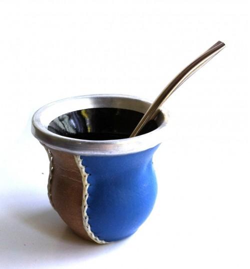 藍褐玻璃質瑪黛茶茶壺連金屬吸管