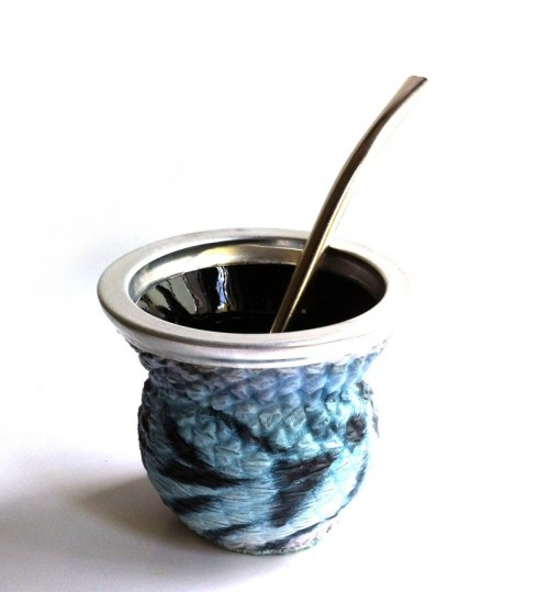 藍紋玻璃質瑪黛茶茶壺連金屬吸管
