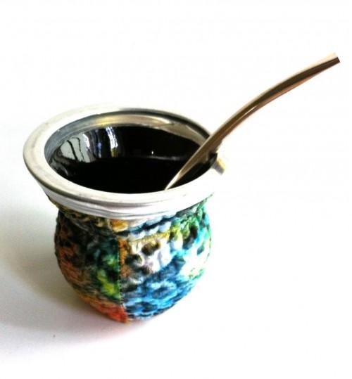 青紋玻璃質瑪黛茶茶壺連金屬吸管