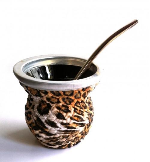 豹紋玻璃質瑪黛茶茶壺連金屬吸管