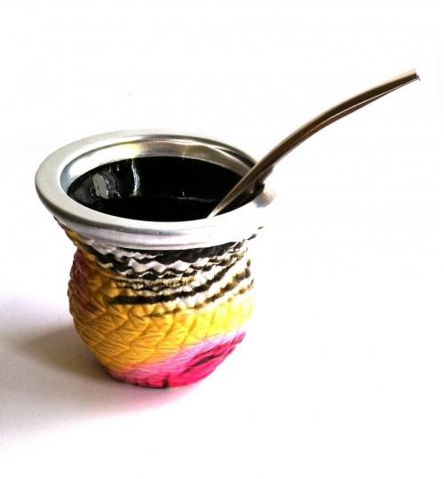雜紋玻璃質瑪黛茶茶壺連金屬吸管