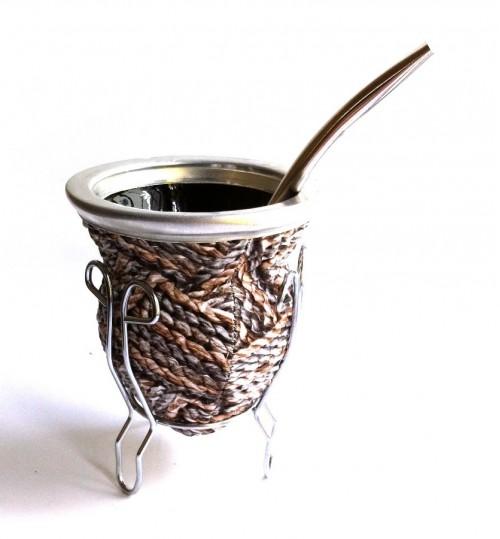 褐朱線玻璃質瑪黛茶茶壺連金屬吸管