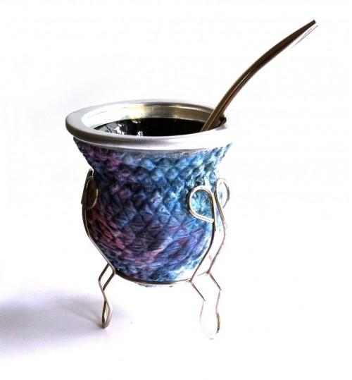 藍彩玻璃質瑪黛茶茶壺連金屬吸管