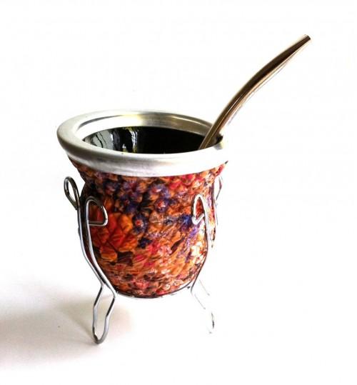 花海玻璃質瑪黛茶茶壺連金屬吸管