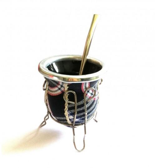 彎條玻璃質瑪黛茶茶壺連金屬吸管