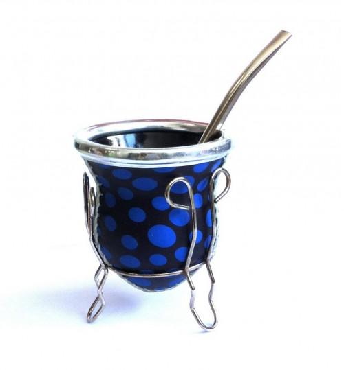 藍圓點玻璃質瑪黛茶茶壺連金屬吸管
