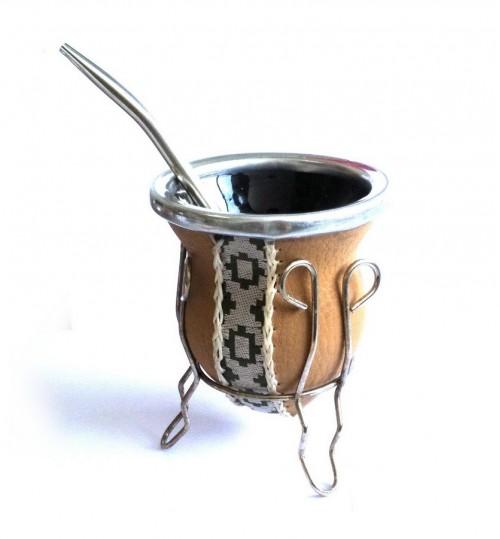 棕條紋玻璃質瑪黛茶茶壺連金屬吸管