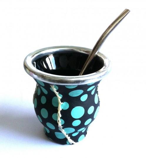 綠圓點玻璃質瑪黛茶茶壺連金屬吸管