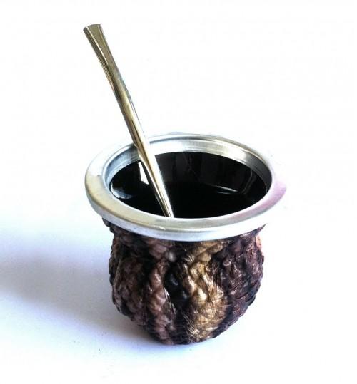 高貴紋玻璃質瑪黛茶茶壺連金屬吸管