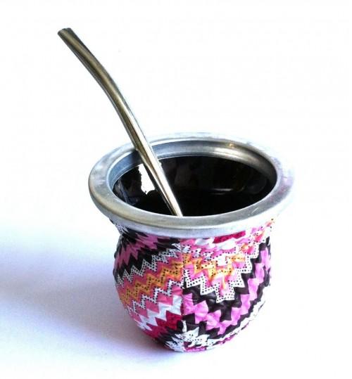 齒輪波浪玻璃質瑪黛茶茶壺連金屬吸管