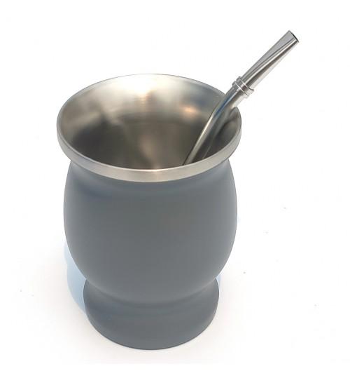 不鏽鋼瑪黛茶灰色茶壺連金屬吸管