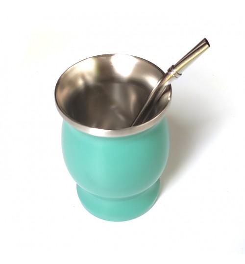 不鏽鋼瑪黛茶碧綠色茶壺連金屬吸管