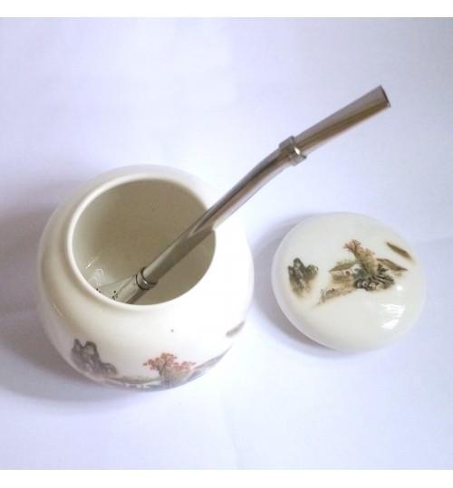 國產手工藝陶瓷茶壺及金屬吸管套裝