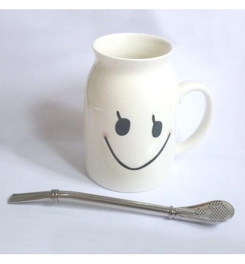 國產陶瓷牛奶杯及金屬吸管套裝