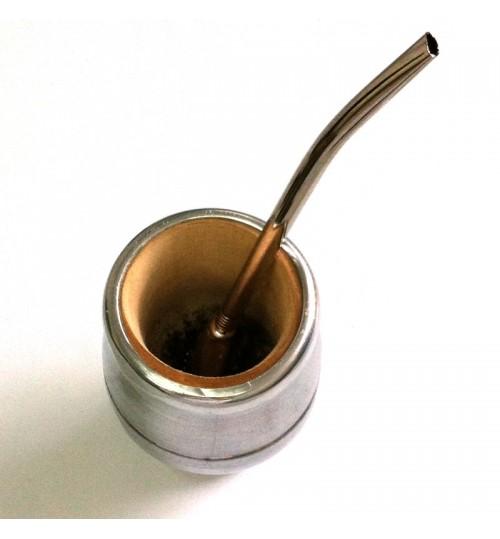 全鋁皮木質瑪黛茶茶壺連金屬吸管