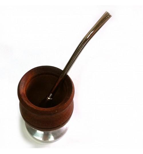 鋁皮底座木質瑪黛茶茶壺連金屬吸管