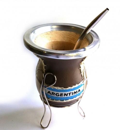 鋁邊包皮木質瑪黛茶茶壺連金屬吸管
