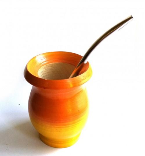橙黃色純木質瑪黛茶茶壺連金屬吸管