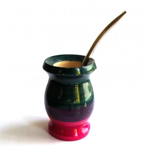 紅綠紫色純木質瑪黛茶茶壺連金屬吸管(瑕疵品)
