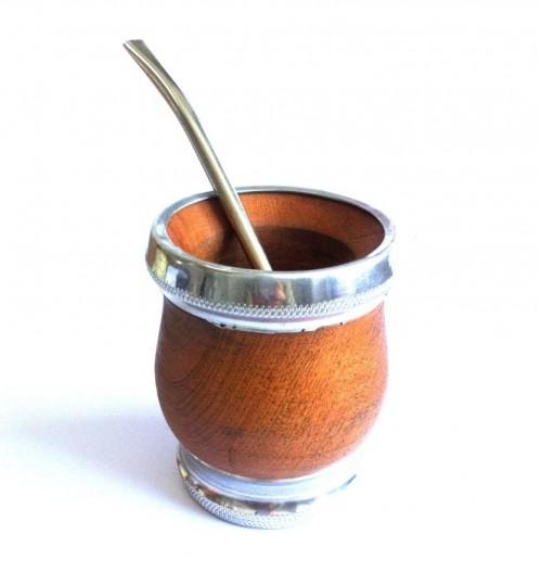 鋁邊木質瑪黛茶茶壺連金屬吸管